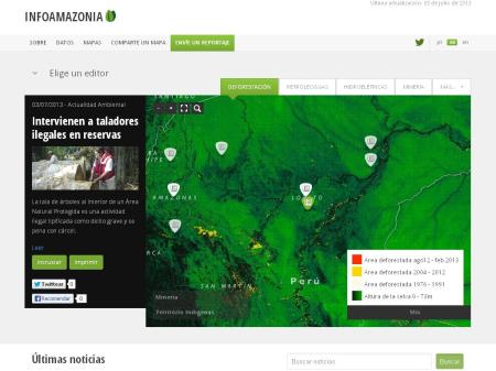 Imagen del sitio Infoamazonia